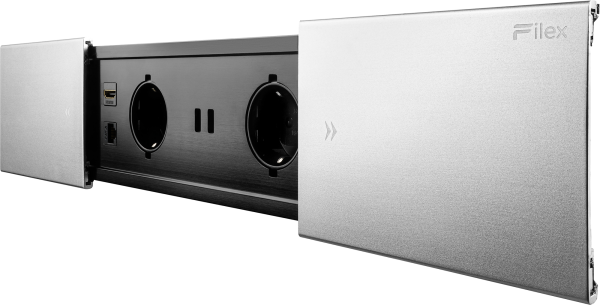 Filex - Desk In Slider (2x230V + 2xUSB Charger + 1xCAT6 + 1xHDMI)