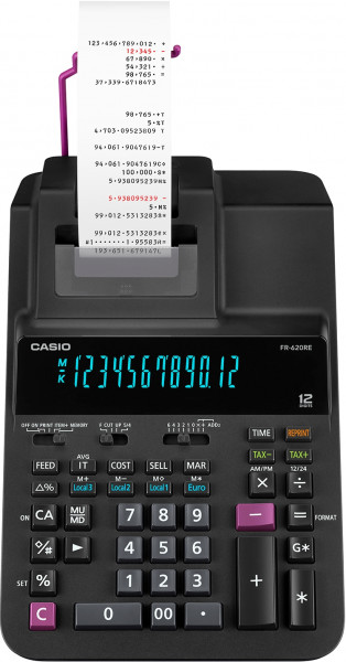 Casio FR-620RE druckender Tischrechner mit 12-stelligem Digitron-Display und zweifarbigem Druck mit Farbband.