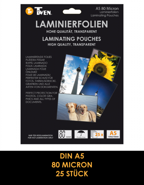 Twen 356 Laminierfolien, DIN A5, 80 Mic., 25 Stück