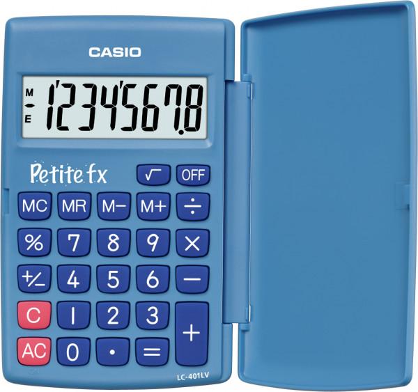 """Casio LC-401LV - """"Petite fx"""" - 8-stelliger Taschenrechner mit Wurzelfunktion in blau"""