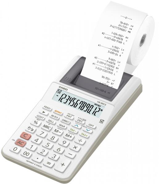 Casio HR-8RCE, druckender Tischrechner, Farbrolle, Battereibetrieb, 12-stelliges Display, weiß