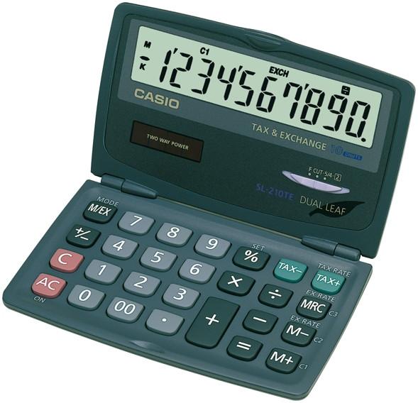 Casio SL-210TE 10-stelliger Taschenrechner mit Klappdisplay