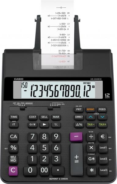 Casio HR-200RCE druckender Tischrechner, 12-stelliges Display, zweifarbiger Druck mit Farbrolle, Batteriebetrieb