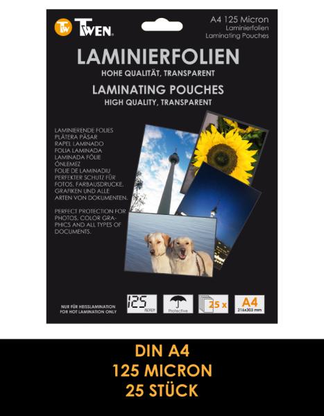 Twen 360 Laminierfolien, DIN A4, 125 Mic., 25 Stück