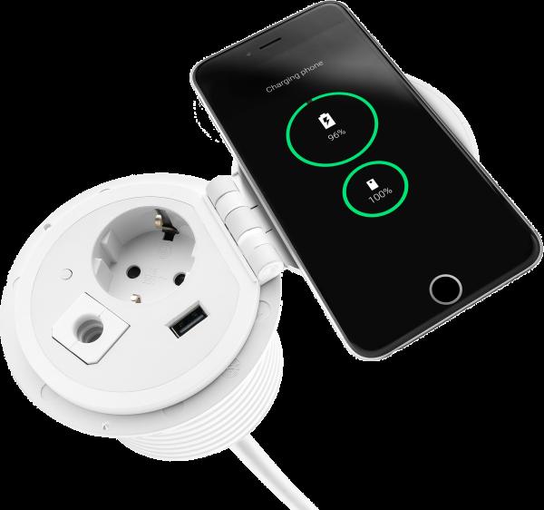 Filex - Power-Spot QI (1x 230V + 1x USB Charger + 1x Passtrough)