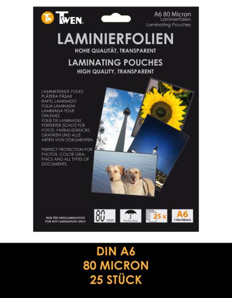 Twen 357 Laminierfolien, DIN A6, 80 Mic., 25 Stück