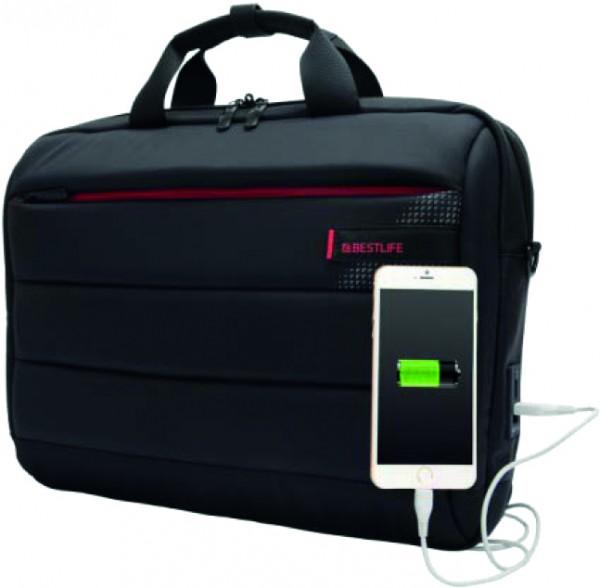 Bestlife BL-BBC-3335BK C-Plus-Tasche, schwarz mit roten Farbakzenten